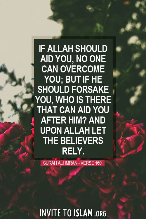 invitetoislam:  If Allah should aid you, no one can overcome you; but if He should forsake you, who is there that can aid you after Him? And upon Allah let the believers rely.  - Surah Ali Imran - Verse 160
