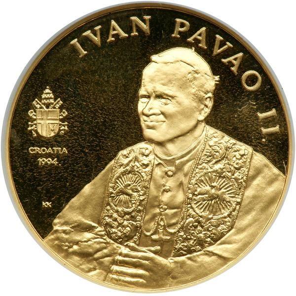 Croatia. 1000 Kuna, 1994. NGC PF68 Fr-3; KM-33. Weight 0.2219 ounce. Pope John Paul II. Estimated Value $300 - 325. #Coins #Gold #MADonC