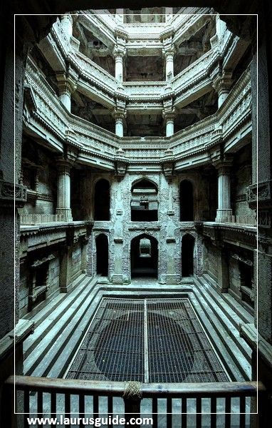 """Adalaj Stepwell is a unique Hindu """"Water building"""" in the village of Adalaj, near the city of Ahmedabad in Gandhinagar district in the Indian state of Gujarat. The emmarchement was built in 1499 by the Muslim King Mohammed Begda for Queen Rani Roopba, wife of Veer Singh, the leader Vaghela. The step wells or """"Vav"""" as it is called in Gujarati, is intricately carved and is five stories deep."""