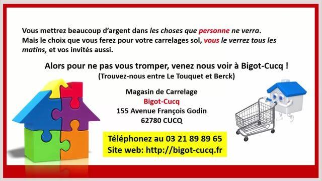 Si vous êtes arrivé sur cette vidéo, vous cherchez certainement un magasin de Carrelage sur la Côte d'Opale et la région du Touquet dans le Pas de Calais. Où trouver du beau carrelage sur la Côte d'Opale ?  Alors pour ne pas vous tromper, venez nous voir à Bigot-Cucq ! (Trouvez-nous entre Le Touquet et Berck) Magasin de Carrelage Bigot-Cucq 155 Avenue François Godin 62780 CUCQ Téléphonez au 03 21 89 89 65 Site web: http://bigot-cucq.fr A bientôt