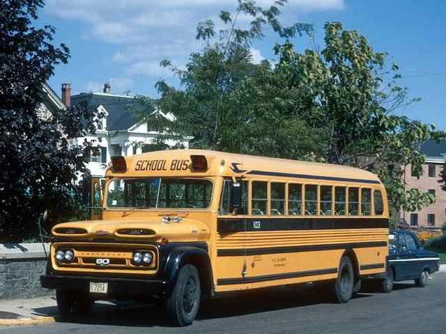 Old School Bus Blue Bird
