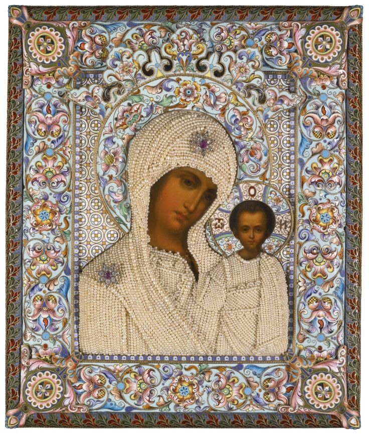 A jewelled seed-pearl, silver-gilt and cloisonné enamel icon of the Kazanskaya Mother of God, Dmitri Lukitch Smirnov, Moscow, 1899-1908
