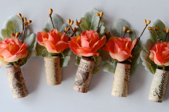 Rustic Boutonniere  Coral Wedding by thebreadandbutterfly on Etsy, $45.00. Could make these ourselves as napkin holders by adding small gold chains.