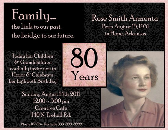 84 Birthday Invitations For 80 Year Old Woman
