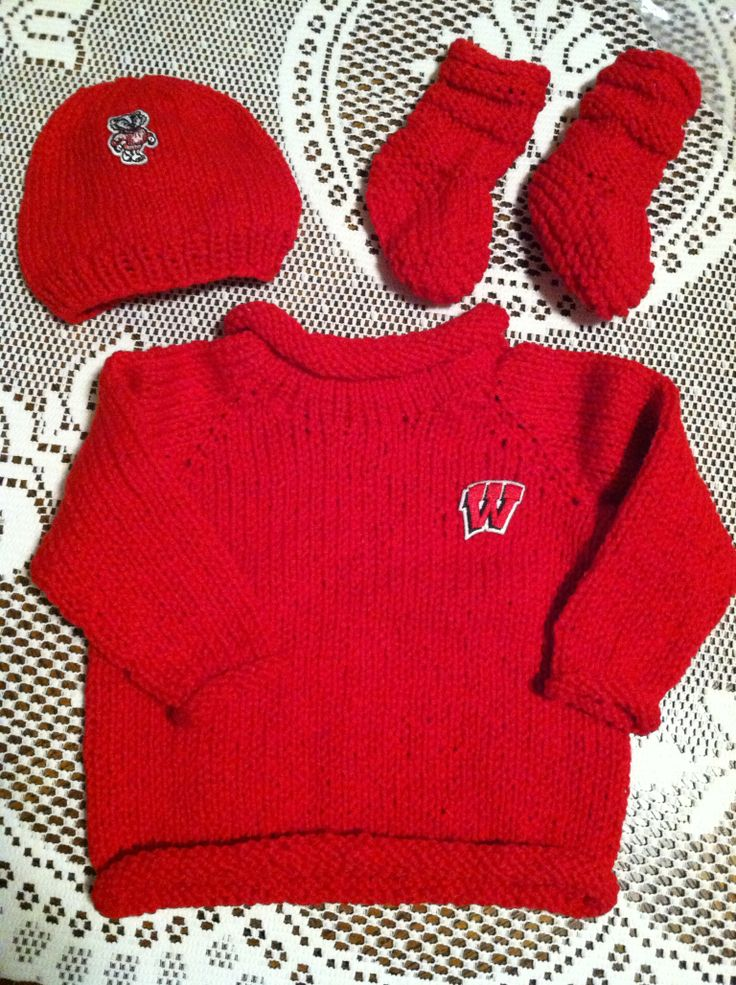 Knitting Pure and Simple patterns - for a new future Badger!  Knit by Barb E. on US 6,7,9 Signature needles.
