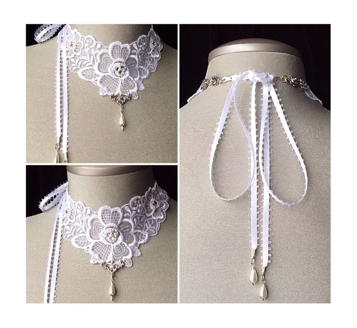 Lace collar, white lace choker, bridal necklace, vintage, embroidered flowers, satin ribbon, pearls, wedding jewelry, swarovski crystals by veronicarosedesigns on Etsy