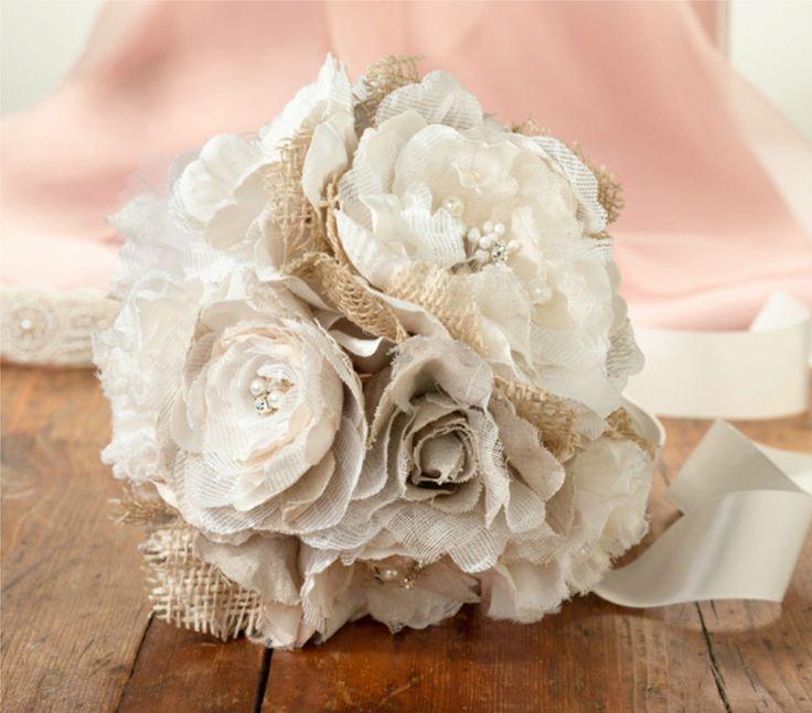 Lillian Rose Bridal Rustic Burlap & Flower Fabric Bouquet Budget Wedding