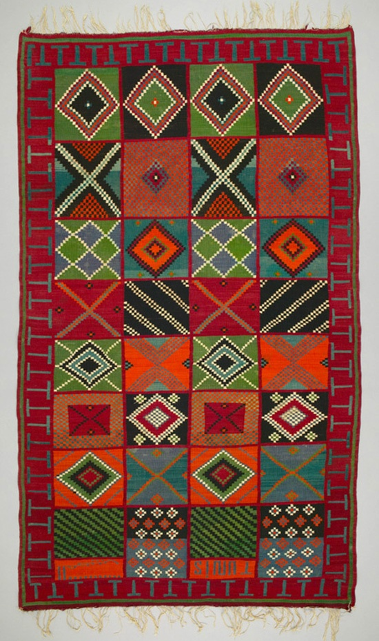 Africa | Rug from Tunisia | ca. 1950 - 1980 | Wool; interlocking tapestry woven, weft-faced, fringed.