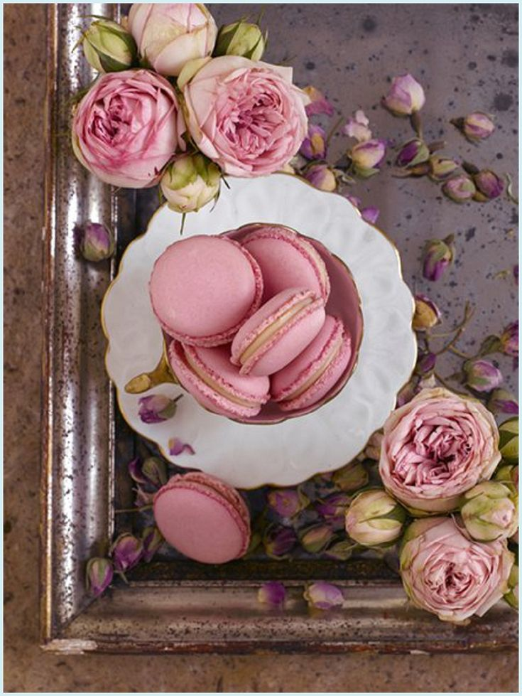 Damask Rose. Delicately flavoured with rose water and brimming with romance. Included in the Christmas Range, #Christmasgifts #Macarons #Roses