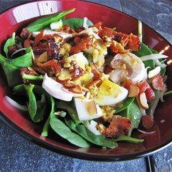 Spinach Salad with Warm Bacon-Mustard Dressing - Allrecipes.com
