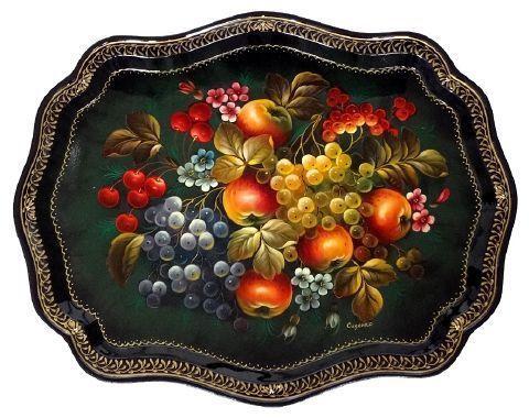 Plateau russe en métal peint Artisanat Russe, Plateau decoratif de Jostovo