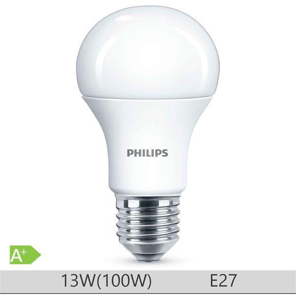Bec LED Philips 13W E27 forma clasica A60m, lumina rece http://www.etbm.ro/becuri-led