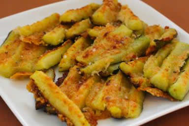 Parmesan Encrusted Zucchini Recipe from Kalyn's Kitchen