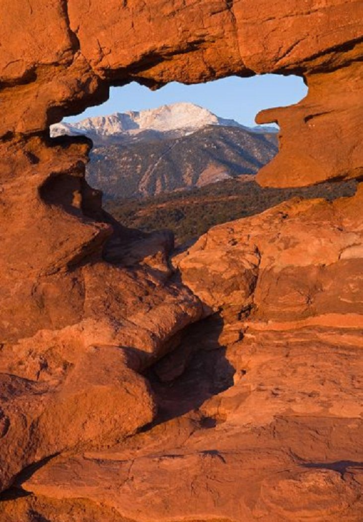 Window to Pike's Peak in the Garden of the Gods, Colorado