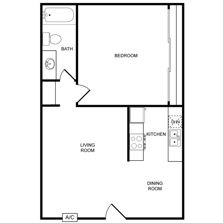 Chloe Plaza - Availability, Floor Plans & Pricing - 1 Bedroom 1 Bath - 700 Sq. Ft. -  Air Conditioning All Electric Kitchen Carpeted Floors Ceiling Fans Covered Parking Dishwasher Mini Blinds Mirrored Closet Doors Refrigerator Vertical Blinds W/D In Unit