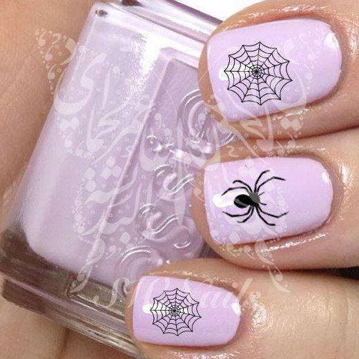 Halloween Black Widow Spider Spider Web Nail Art Water Decals Transfers