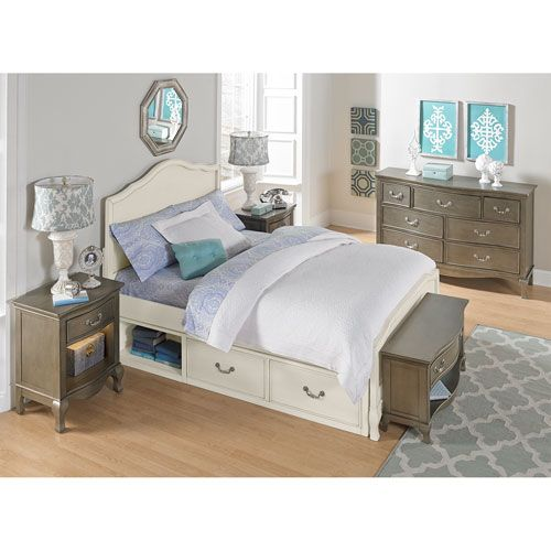 kensington antique white charlotte panel full bed with storage