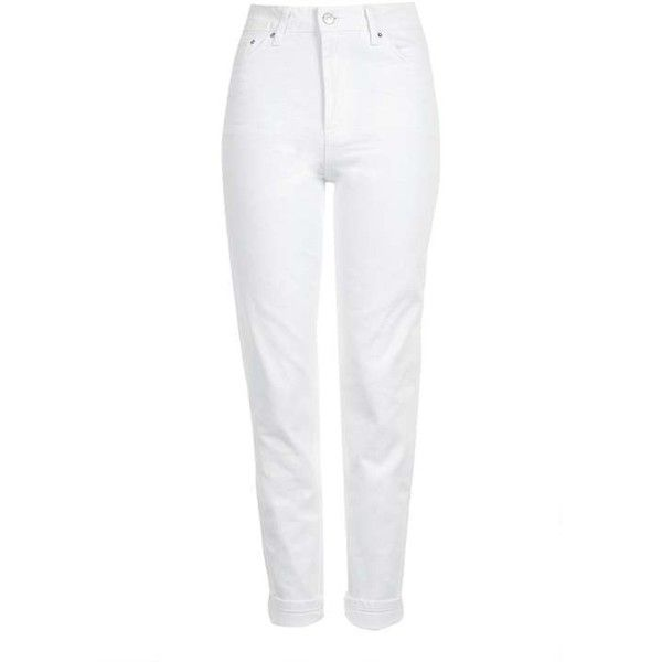 TopShop Moto White Mom Jeans ($52) ❤ liked on Polyvore featuring jeans, white high waisted jeans, high-waisted jeans, white high-waisted jeans, topshop jeans and highwaist jeans