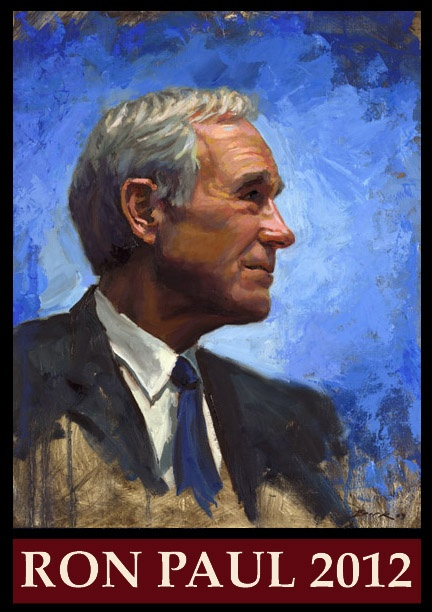 Portrait of Ron Paul by Carl Bork. Intended for use with brochures.