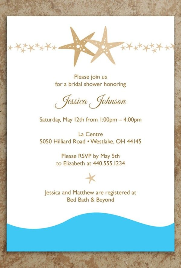 Bridal Shower Invitation, 2014 starfish beach wedding invitations ...