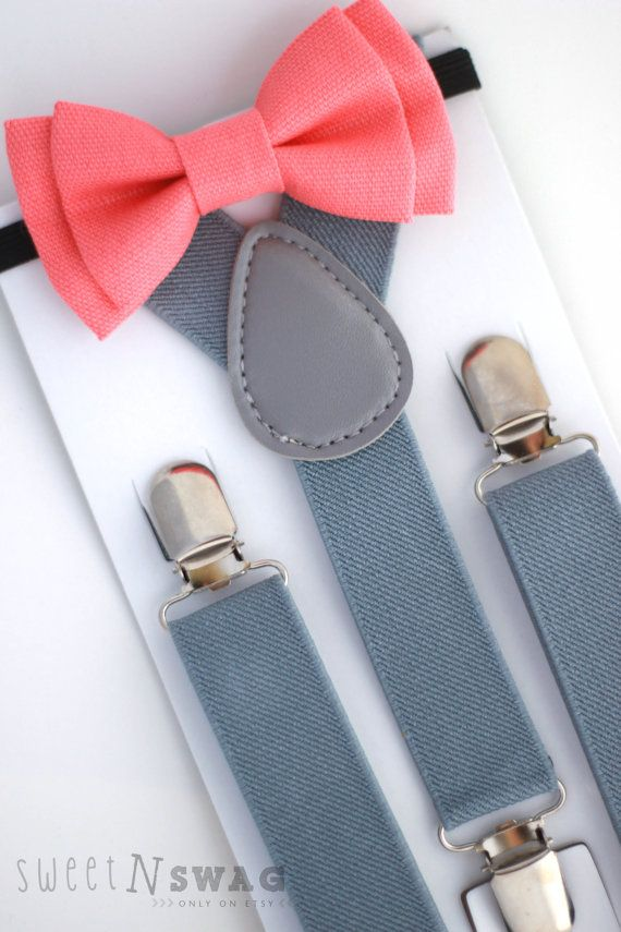 SUSPENDER & BOWTIE SET. Light grey suspenders. by SweetnSwag