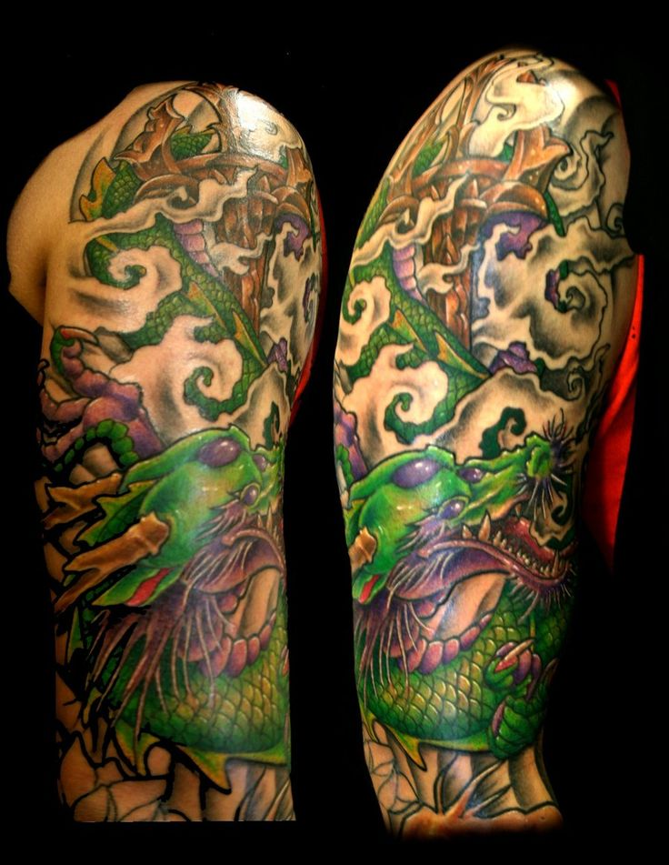 Oriental Dragon Sleeve Tattoo Designs