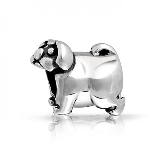 Pug Puppy Dog 925 Sterling Silver Animal Bead Pandora Compatible