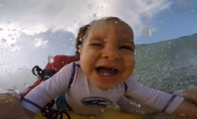 GoPro Footage Shows A 9 Month Old Baby Loving Life On The Ocean Waves