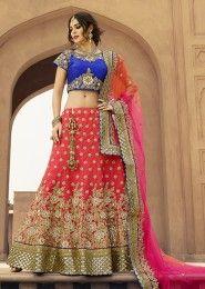 Wedding Wear Pink Art Silk Zarkan Work Lehenga Choli