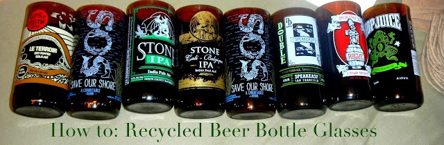 Recycled Beer Bottles into Glass Tumblers - perfect gift for groomsman or that other man in your life!