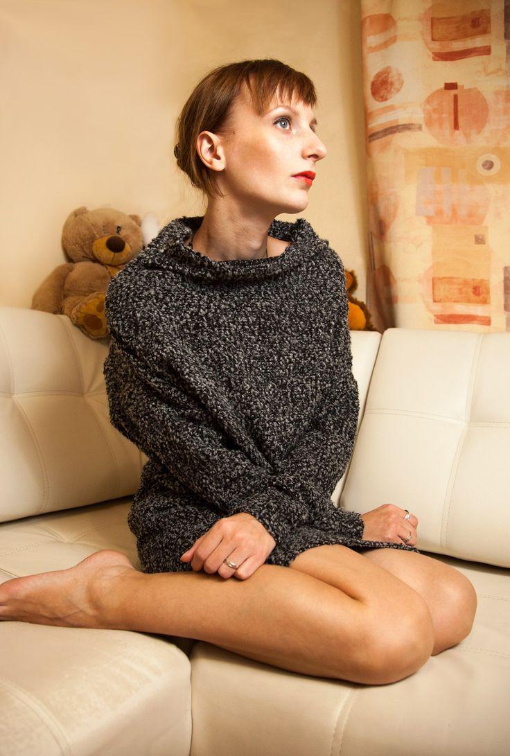 """Теплая туника с рукавами """"летучая мышь"""". Заказать можно на сайте anfoxs.com"""