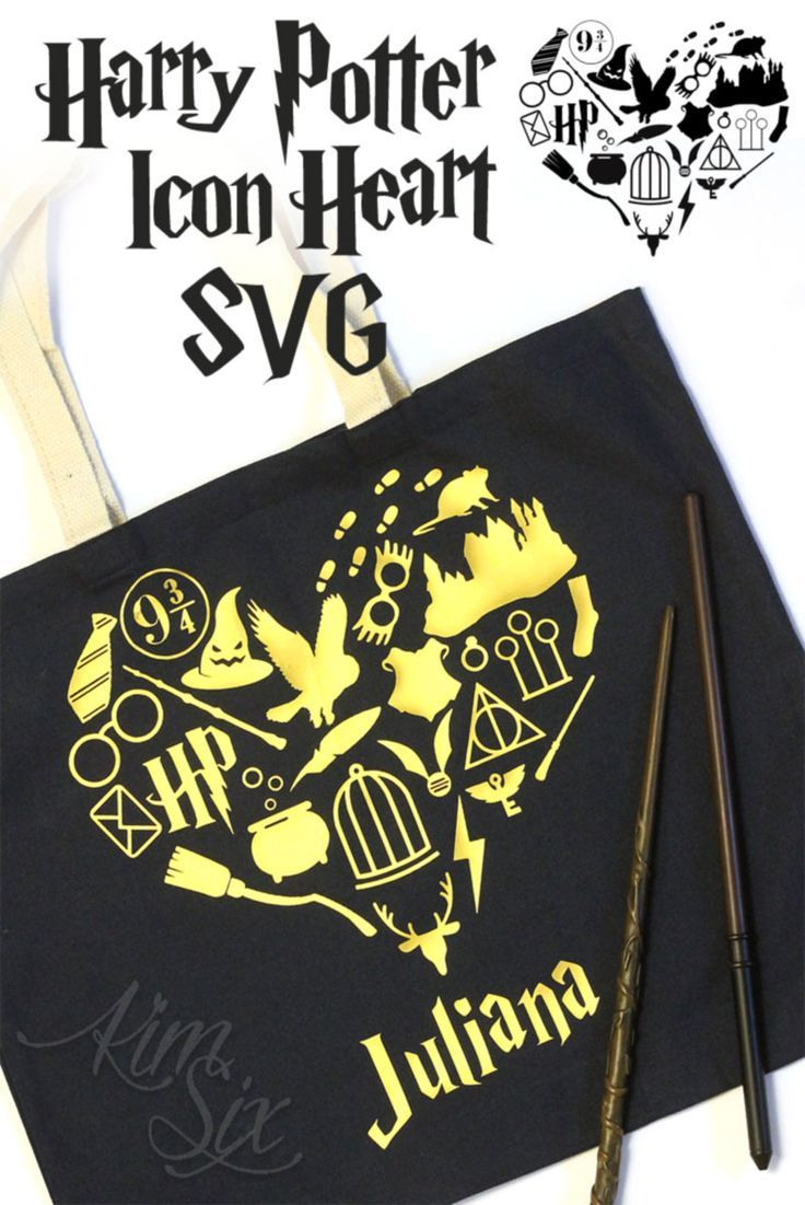 b4126846d6e6 A SVG file featuring all the iconic images from Harry Potter books and  movies in the shape of a heart. She used it on a tote bag, but it could be  also ...