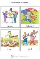 Kleuterklas: Woordkaarten maanden (met tekeningen van Dagmar Stam)