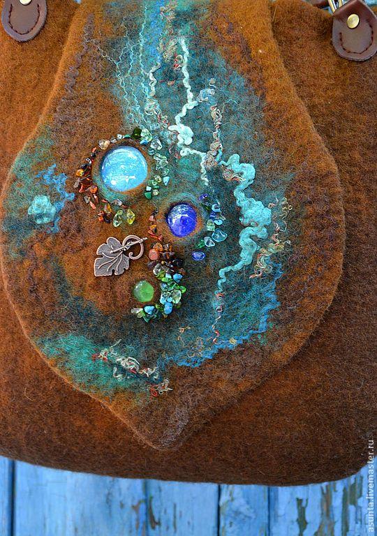 "Войлочная сумка ""Медь и патина"" - коричневый,абстрактный,валяная сумка"