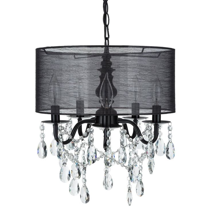 49 best shop crystal chandeliers by amalfi dcor images on 5 light crystal plug in chandelier with cylinder shade black aloadofball Image collections