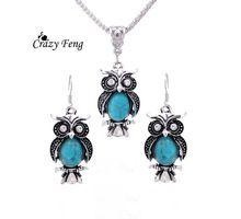 Горячей продаж посеребренные бирюзовый камень старинные антикварные сова дизайн серьги ожерелье ювелирные комплект ну вечеринку для женщин подарок(China (Mainland))