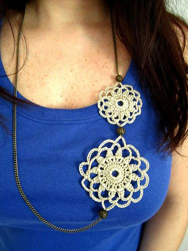 Doily crochet necklace