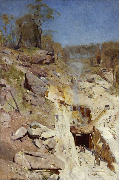 Arthur Streeton Fire's on 1891 oil on canvas 183.8 x 122.5 cm Art Gallery of New South Wales, Sydney Purchased, 1893