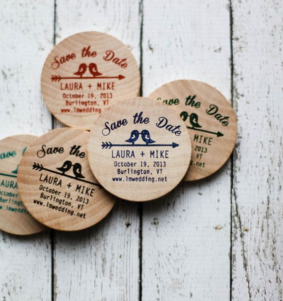 Save The Date Magnets- This listing is for 50 Kissing Birds hand stamped wood…