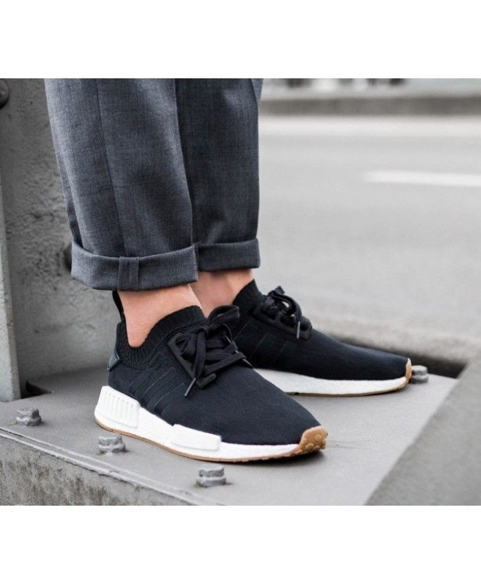 b88016683 Adidas NMD R1 PK Core Black Gum Trainers UK