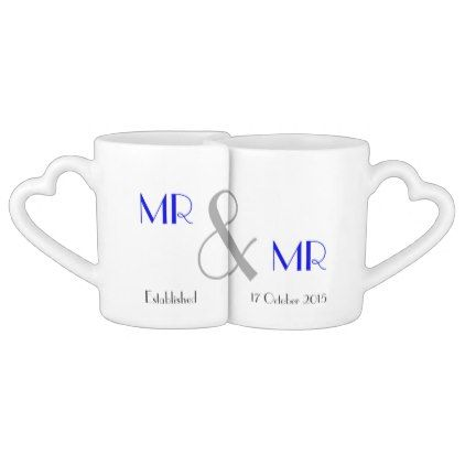 Mr & Mr Gay Wedding Gift Personalized Coffee Mug Set - wedding decor marriage design diy cyo party idea