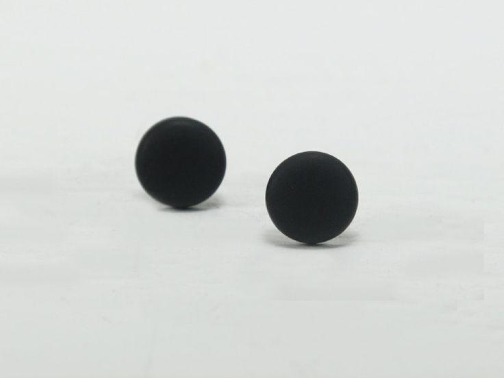 Black Stud Earrings  Black Studs  Matte Black Earrings  by biesge, $10.00