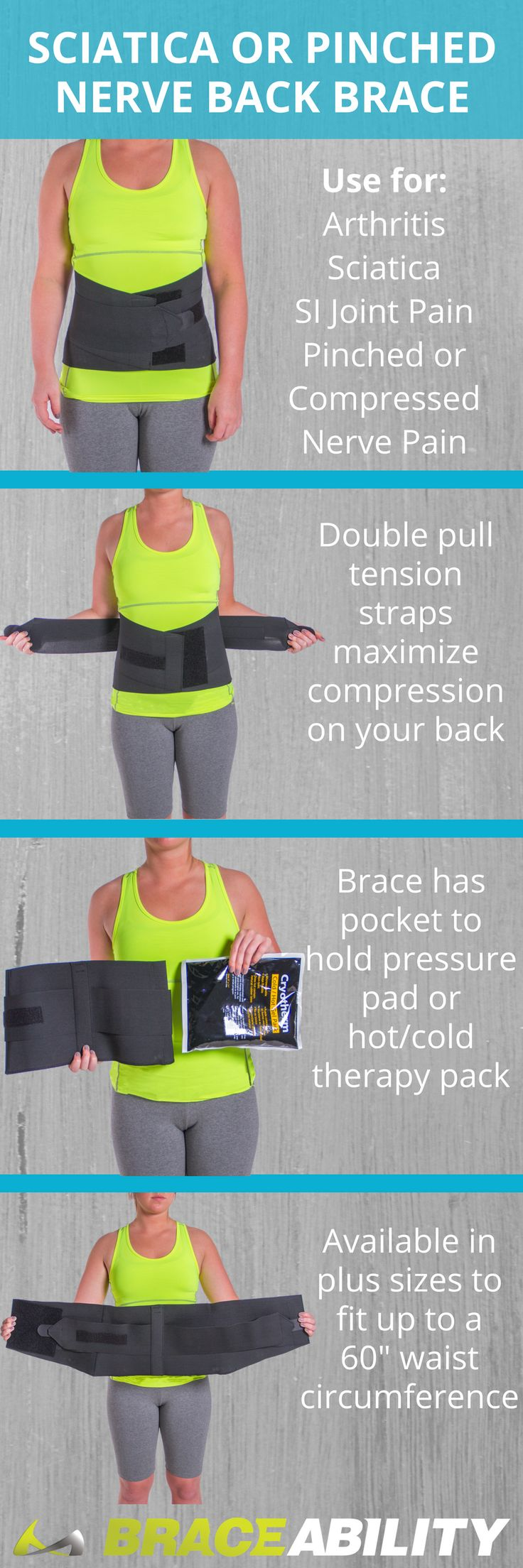 Do you suffer from sciatica or a pinched nerve in your lower back? This compression brace helps tremendously reduce your pain and discomfort from this spinal condition. This lower back wrap features a back pocket for hot/cold inserts, which is the best form of treatment for a pinched nerve. Check out the brace here for more features! | BraceAbility