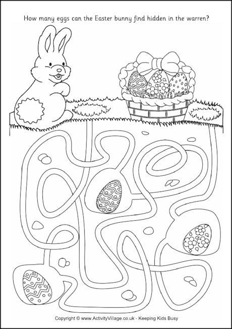 Easter Bunny Maze Coloring SheetsEaster