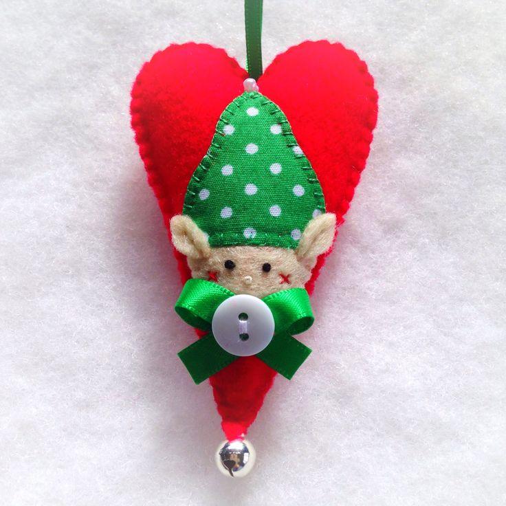 Hand stitched Felt Elf Christmas Ornament