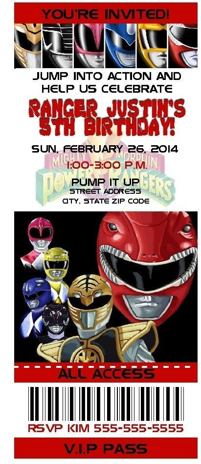 8 CUSTOM ORIGINAL POWER RANGERS BIRTHDAY PARTY TICKET INVITATIONS MIGHTY MORPHIN