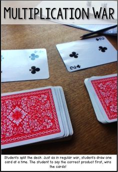 Multiplication War! Fun math game that only requires a deck of cards. Can also be done with addition and subtraction.
