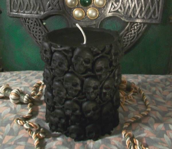 Black Skull Beeswax Pillar Candle by DarknessVoid on Etsy