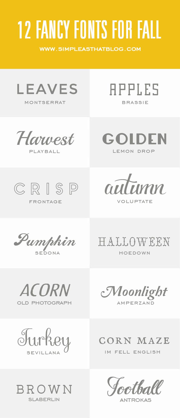 14 Fancy Fonts for Fall // Simple as That Blog @rebeccacooper #fall #fonts