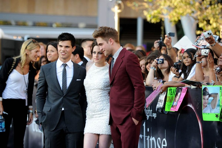"""Taylor Lautner, Kristen Stewart and Robert Pattinson arrive at the premiere of the third movie in the series, """"Eclipse,"""" during the 2010 Los Angeles Film Festival at Nokia Theatre L.A. Live on June 24, 2010, in Los Angeles."""